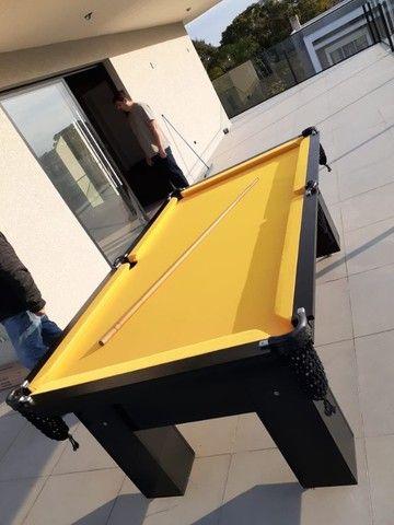Mesa de Bilhar Charme Preta Tx Tecido Amarelo Modelo HFS6548 - Foto 3