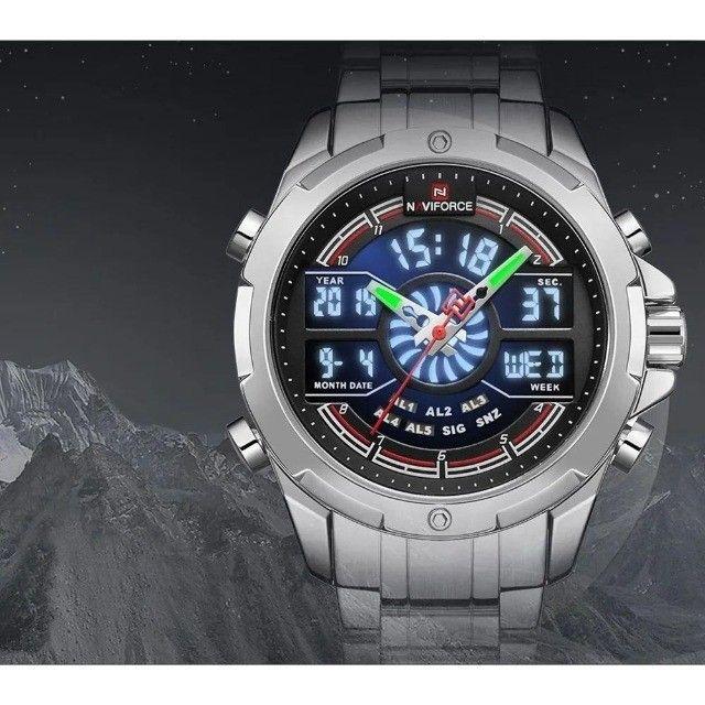 Relógio Masculino Esportivo Digital Naviforce 9170 Prata - Foto 4
