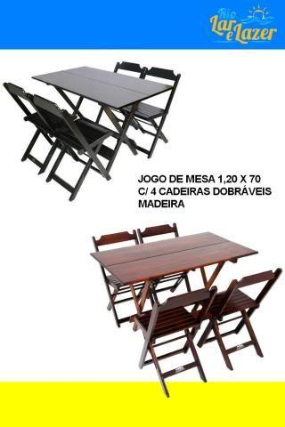 Vendo conjunto de mesa e cadeira de madeira