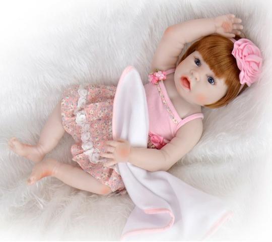 Pronta Entrega Boneca Bebê Reborn Ruiva 57cm - Foto 6