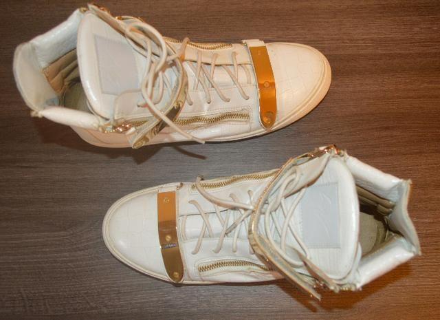 Tênis sneaker Giuseppe Zanotti branco e dourado masculino, original - Foto 4