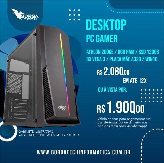 PC Gamer Athlon 200GE - 8GB - Vega 3 | Troco e Passo Cartão