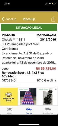 Vendo JEEP RENEGADE SPORT - Carro top Impecável - Foto 2