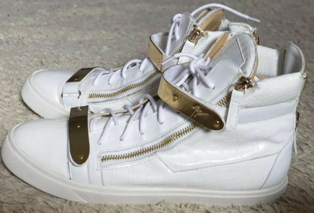 Tênis sneaker Giuseppe Zanotti branco e dourado masculino, original