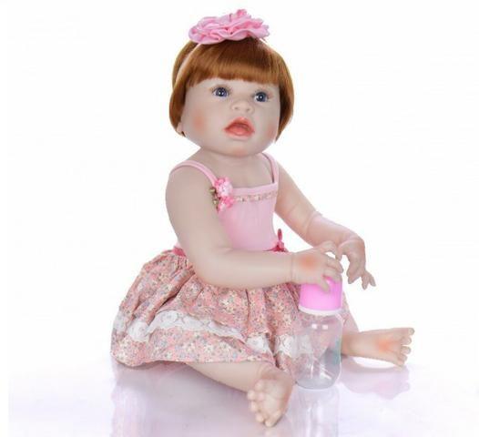 Pronta Entrega Boneca Bebê Reborn Ruiva 57cm - Foto 3