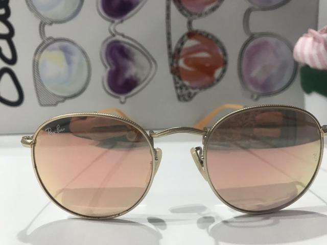 364463b5b Óculos de sol Ray Ban Round Metal espelhado rose - Bijouterias ...