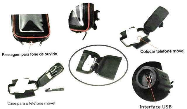 """Suporte Case USB para Carregar Celular para Moto e Bicicleta 360º 6.3"""" - Foto 7"""