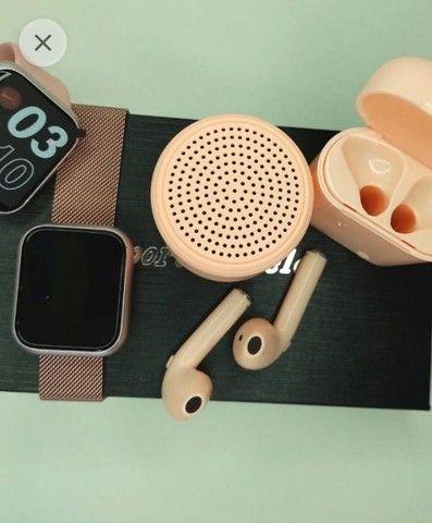 Kit Relogio Smartwatch, Fone I7s, Mini Caixinha De Som - Faço Entrega