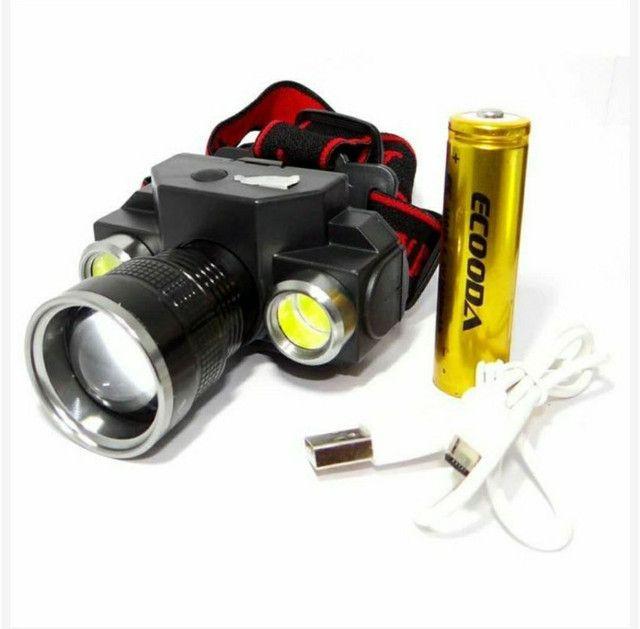Lanterna de Cabeça LED Bateria Recarregável  - Foto 2