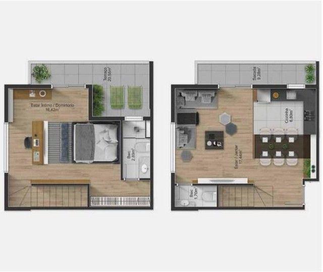 Apartamento Duplex com 1 dormitório à venda, 76 m² por R$ 610.123,79 - Rebouças - Curitiba - Foto 4