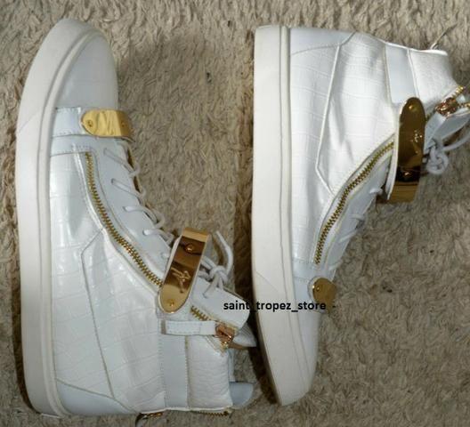 Tênis sneaker Giuseppe Zanotti branco e dourado masculino, original - Foto 2