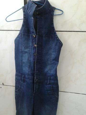 Macacão jeans comprido