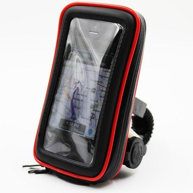 """Suporte Case USB para Carregar Celular para Moto e Bicicleta 360º 6.3"""" - Foto 5"""