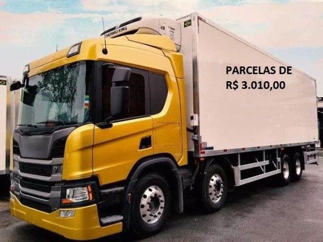 Scania P320 bitruck refrigerado 2019 com entrada e parcelas com serviço