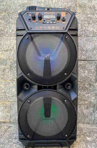 Caixa de som super potente c/ microfone e controle - Foto 6