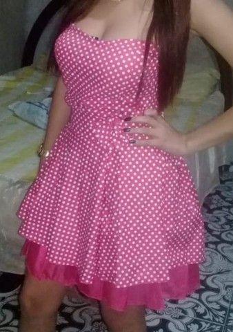 Vestido Rosa de Bolinhas  - Foto 5