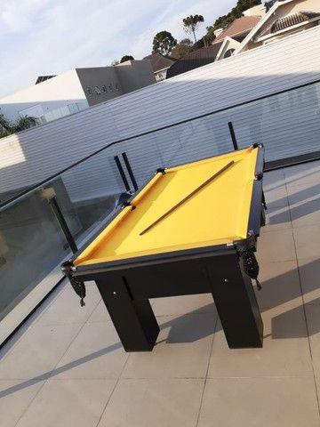 Mesa de Bilhar Charme Preta Tx Tecido Amarelo Modelo HFS6548 - Foto 2