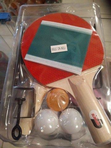 R$29 Kit ping pong completo tenis de mesa 2 raquete + suporte + rede +3 bolas brinquedo