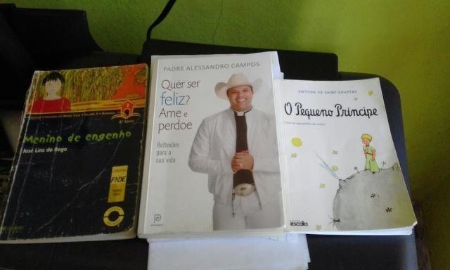 Vendo esses três livros pequeno príncipe padre Alessandro campos e o menino de engenho