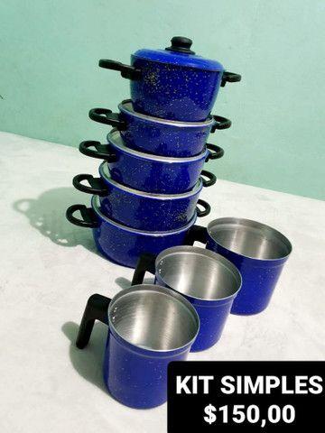 Jogos de panelas e utensílios na cor azul. - Foto 2