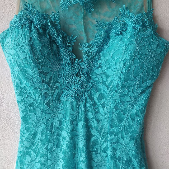 Vestido de festa longo verde tiffany - Foto 3