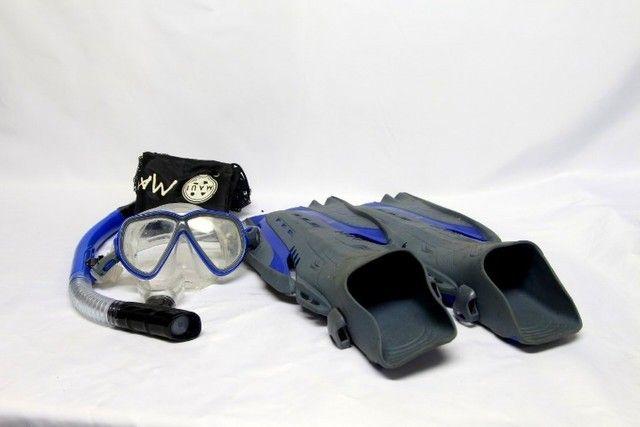 Kit pé de pato nadadeira máscara snorkel mergulho maui - Foto 5