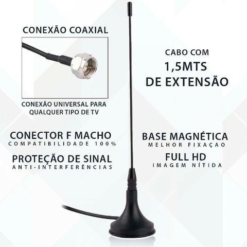 Antena Tv Digital Interna Cabo 1,5m P/ Sintonizar Tv Digital