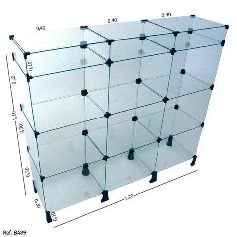 Balcão de vidro com porta bijuterias 1,20 x 1,10 em oferta
