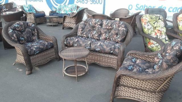 Conjunto de sofa Dubai em fibra sintética