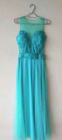 Vestido longo de festa verde tiffany - Foto 3