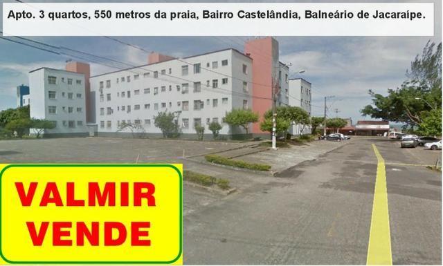 Apartamento 03 quartos, 3 º andar, sol da manha, 1.000 metros da praia, Castelândia