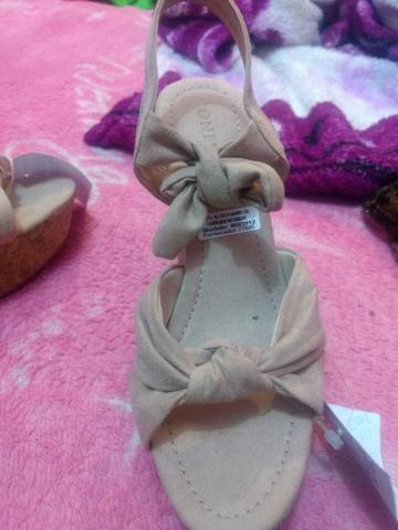 Sandália feminina oneself salto alto meia pata em suede com amarração e nó rosê - 34 - Foto 3