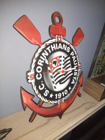 Relógio de parede Corinthians- mdf 6mm motor contínuo - Foto 2