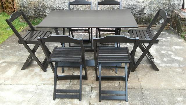 Conjunto Dobrável Mesa 120x70 com 6 cadeiras