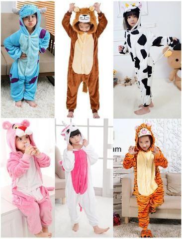 6f7d3a3791be79 Pijama Infantil Inverno Fantasia macacão Pantera Cor de Rosa Leão Unicórnio  Sullivan Tigre