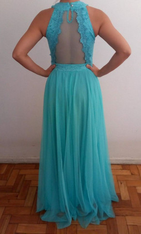 Vestido longo de festa verde tiffany - Foto 2