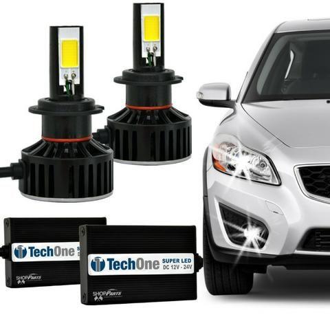 Kit Lâmpada Super LED H4 6000K 12V e 24V 36W 3700LM Efeito Xênon Carro Caminhão Moto