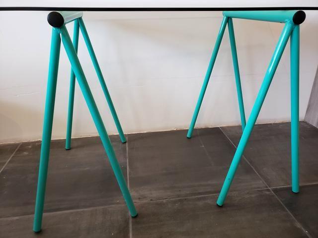 Mesa com tampo de vidro - Foto 3
