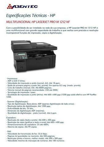 Impressora Multi Funcional LaserJet M1212nf MFP - Foto 2