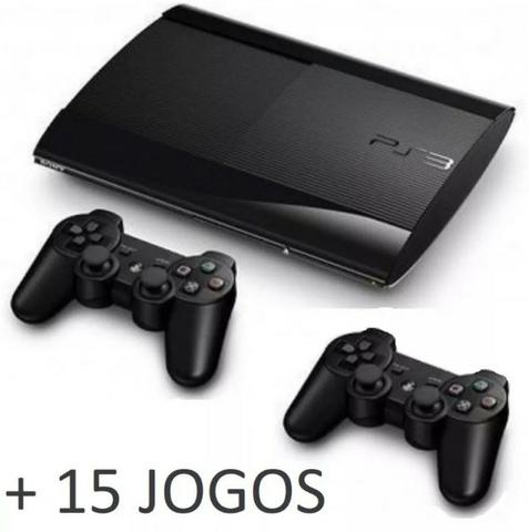 Playstation 3 Slim 250gb + 15 Jogos + 2 Controles
