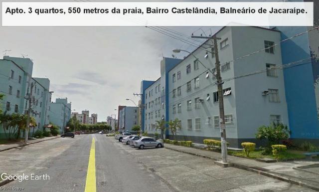 Apartamento 03 quartos, 3 º andar, sol da manha, 1.000 metros da praia, Castelândia - Foto 2