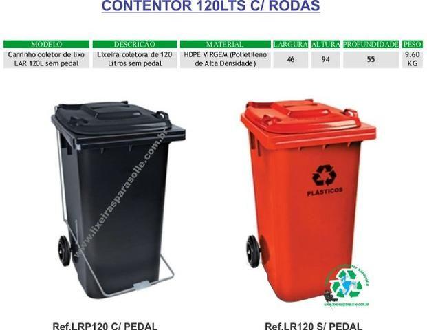 Lixeira contentor de lixo 120lts com rodas 20cm - Foto 5