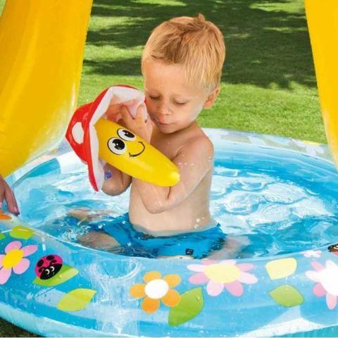Piscina Inflável Infantil Para Crianças Piscina Cogumelo Fundo Inflado - Foto 3