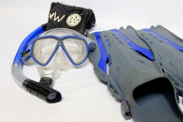 Kit pé de pato nadadeira máscara snorkel mergulho maui