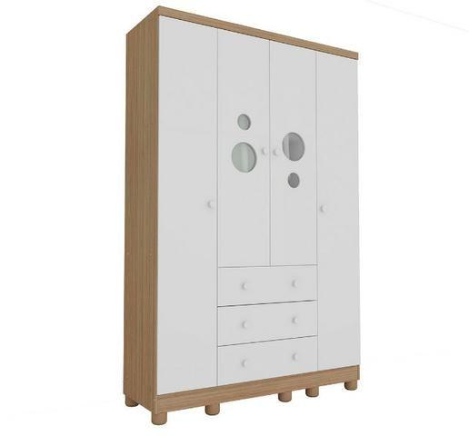 Roupeiro Infantil 4 portas 3 gavetas - Bolinha *NOVO* ShopMix Móveis