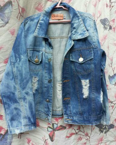 Jaqueta jeans azul feminina