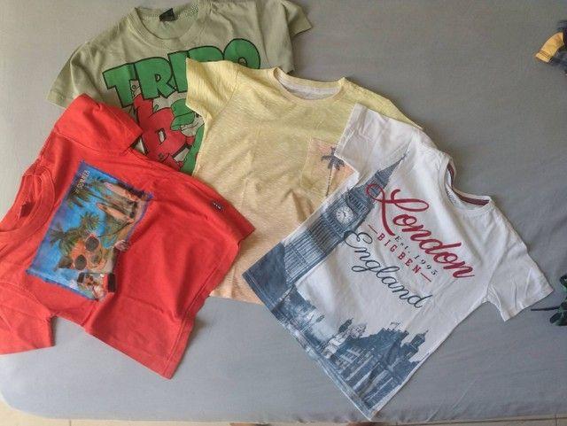 Lote roupas menino kids 3 e 4 anos bermudas camisetas moda praia verão - Foto 4