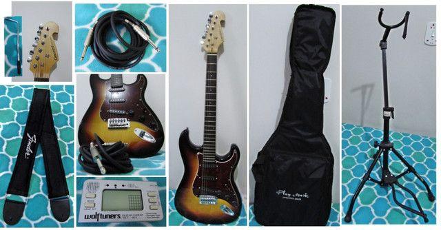 Guitarra Giannini Strato 3 Singles G100 Sunburst e Acessorios