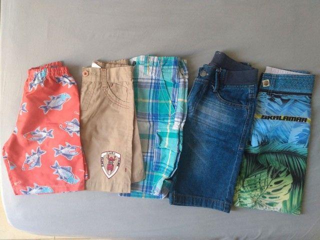 Lote roupas menino kids 3 e 4 anos bermudas camisetas moda praia verão - Foto 2