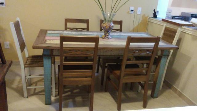 Jg mesa 6 cadeiras peroba rosa com pátina usado